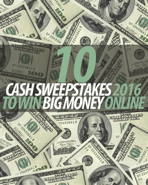 10 cash sweepstakes 2016 to win big money online winzily - Online Money Winning Contest