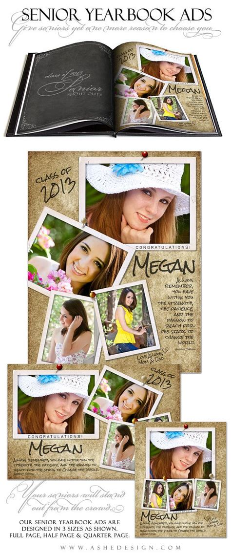 senior yearbook ad templates senior yearbook ad sets for photographers by ashedesign on