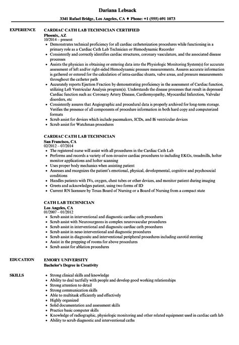 lab technician sle resume cath lab technician resume sle cover letter content for
