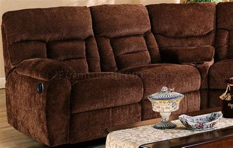 brown fabric reclining sectional brown chennile fabric sectional sofa w recliner seat