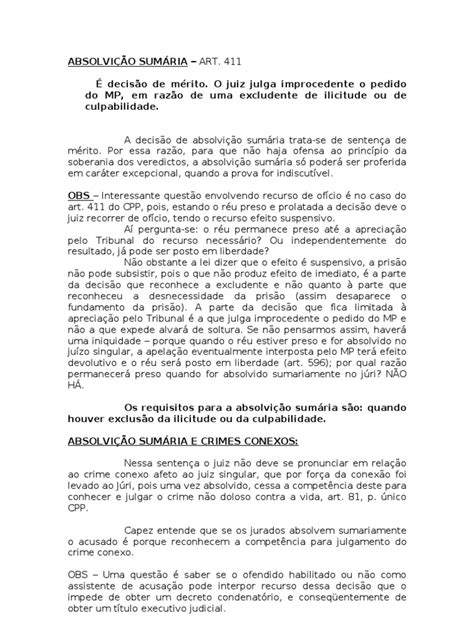 ABSOLVIÇÃO SUMÁRIA | Government Information | Public Law