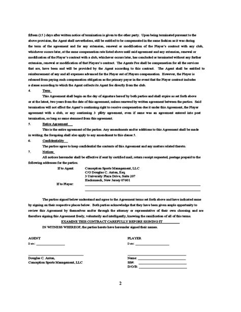 football contract template standard player contract free