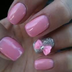 nail color ideas bow ideas baby pink and silver color nail trendy