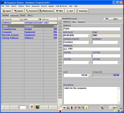 Database Template project cost tracking organizer deluxe simple project