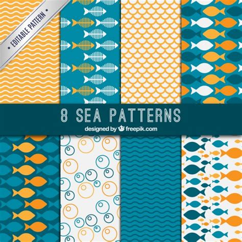 Sea patterns Vector   Free Download
