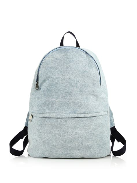 Denim Backpack a p c washed denim backpack in blue for lyst