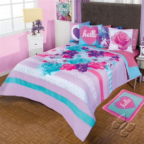 girls bedding new ladies girls violet lavender pink aqua roses comforter