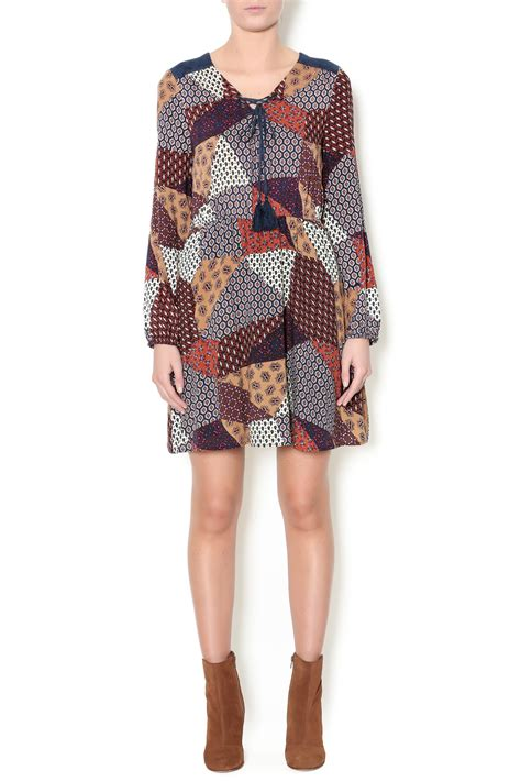 pattern of net dresses skies are blue multi pattern drawstring dress from west