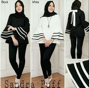 Puff Atasan Muslim Blouse Muslim model baju atasan wanita lengan panjang terompet puff terbaru