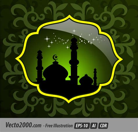 abstract mosque  green creative artwork background