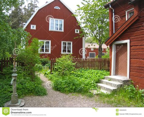 Spanish Colonial House Plans by Typical Old Red Timber Houses Linkoping Sweden Stock