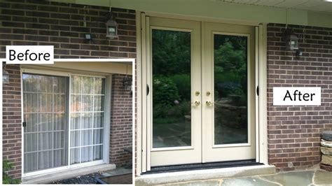 replace sliding glass patio door with provia heritage fiberglass door retractable screen