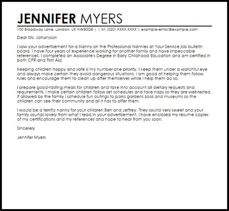 Sample Cover Letter For A Nanny Position Livecareer