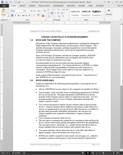 byod policy template byod policy acknowledgement template itsd109 1