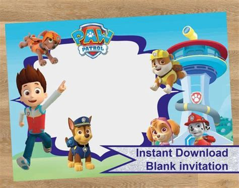 paw patrol birthday card template free paw patrol invitations paw patrol and paw patrol birthday