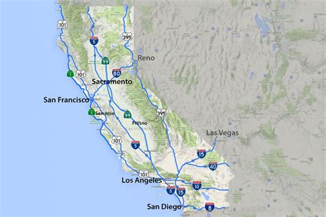 california map of highways california road map highways and major routes