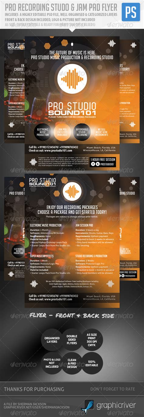 recording studio flyers template 187 dondrup com
