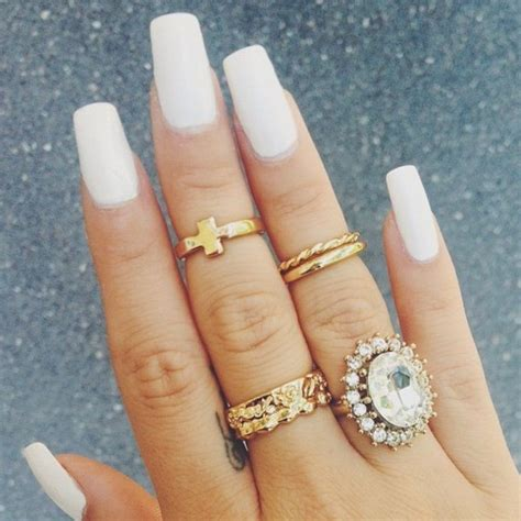 tumblr nails with white gold rings jewels gold ring ring half jewelry gold knuckle ring