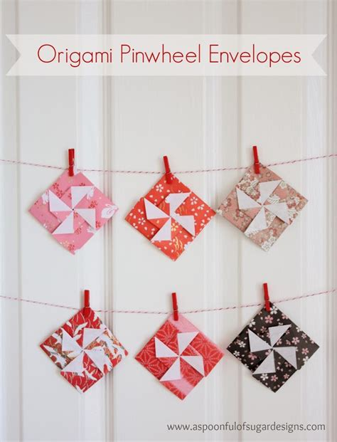 How To Make A Pinwheel Origami - origami pinwheel envelopes a spoonful of sugar