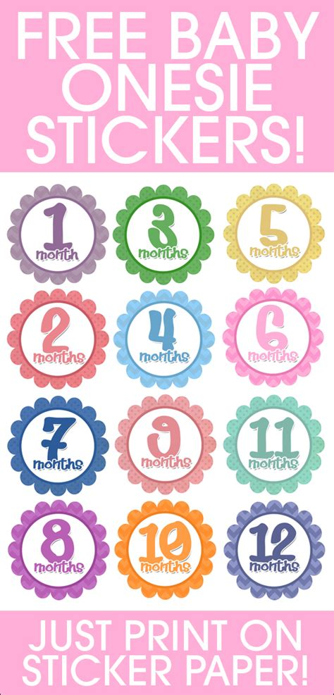 printable month stickers for babies photo a month baby onesies free printables baby onesie