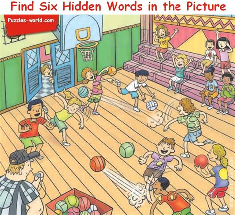 Find With Pictures Find Six Words In The Picture Word Puzzle Brain Teasers