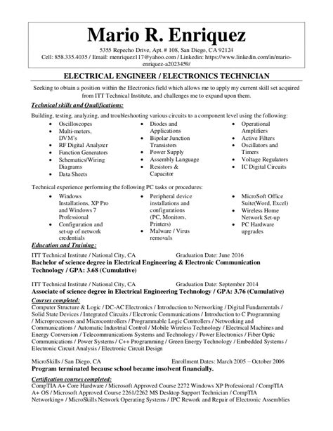 electronics technician resume sles electrical engineer electronics technician resume