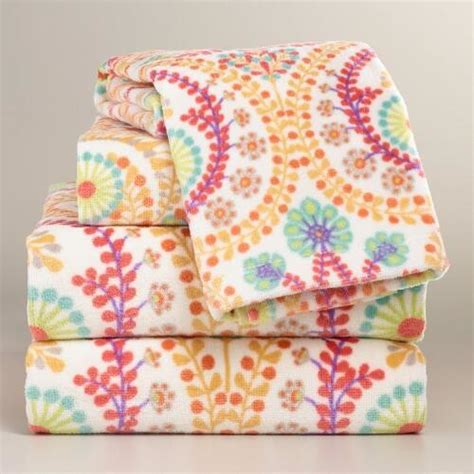Bath Towels Printed Coral Treetop Printed Towel Collection Bath Towels By