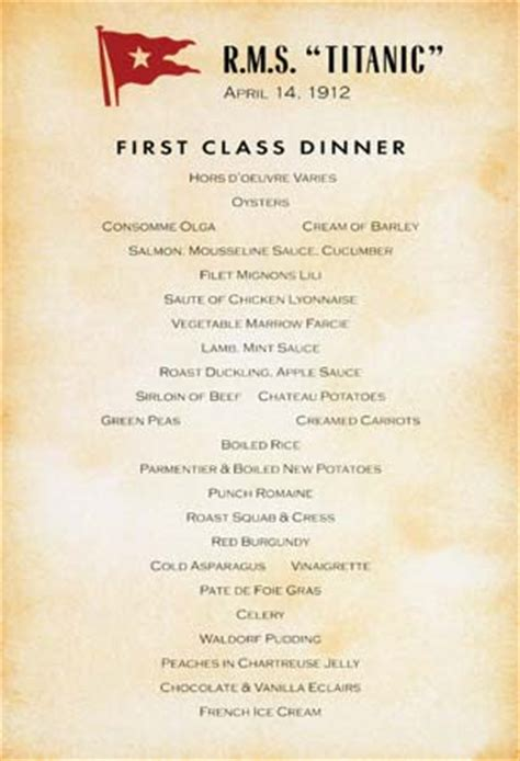 titanic first class menu photograph the titanic s first class dinner menu for april