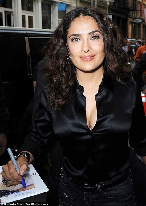 Salma Blouse salma hayek in a lipstick printed blouse before baring