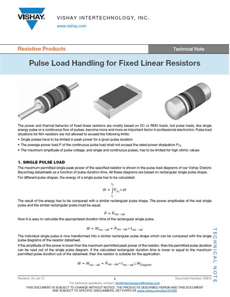 pulse load handling for fixed linear resistors electronic products