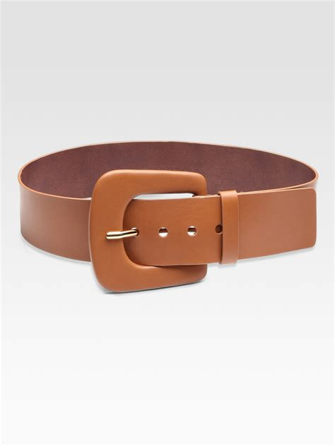 maison margiela wide leather belt in brown lyst