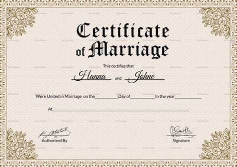 keepsake marriage certificate template keepsake marriage certificate design template in psd word