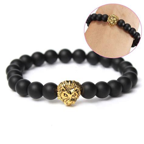 silver beaded cuff bracelet fashion black lava gold silver beaded cuff