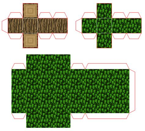Minecraft Papercraft Grass Block - 8 best images of minecraft tree block printables