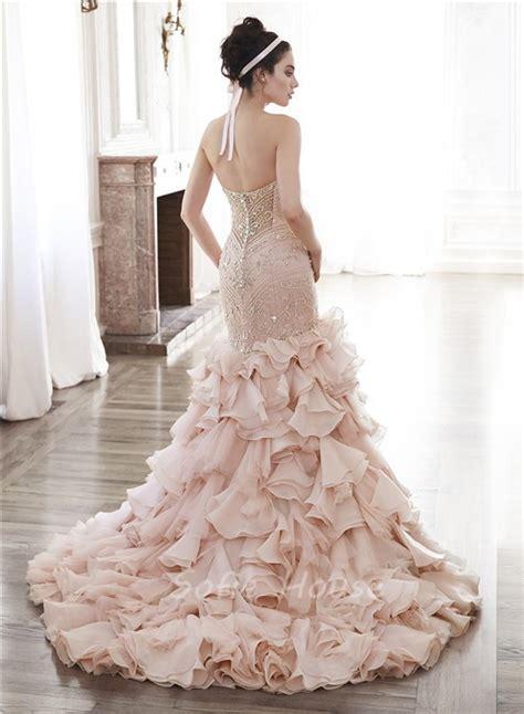 gorgeous mermaid strapless blush organza ruffle