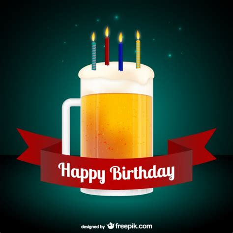 beer happy birthday images happy birthday card with beer free vector 123freevectors