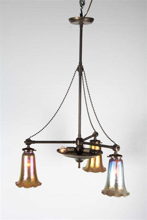 Craftsman Pendant Lights Brass Craftsman Pendant Light With Three Shades For Sale At 1stdibs