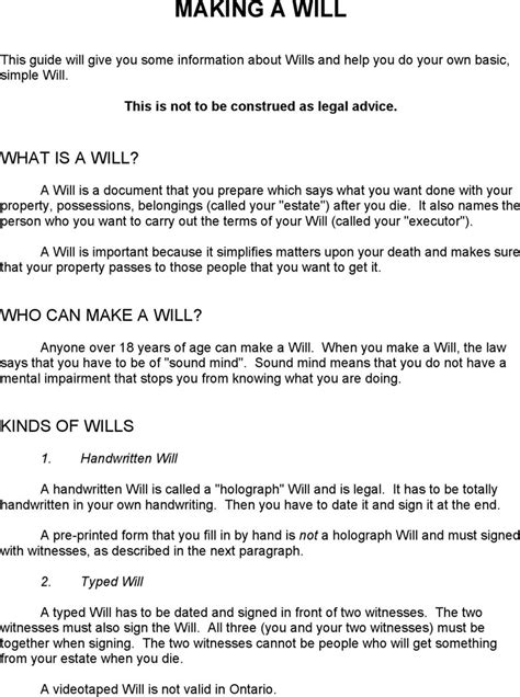 ontario last will and testament form download free