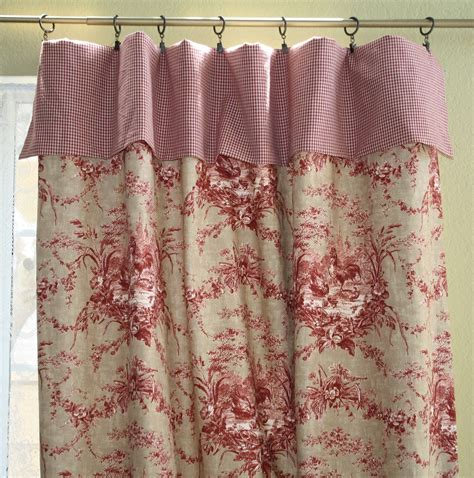 Rooster Valance Waverly La Ferme Rooster Toile Custom Cuff Top Mock