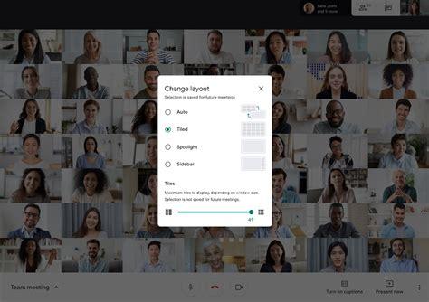 google meet    person grid view lets  blur