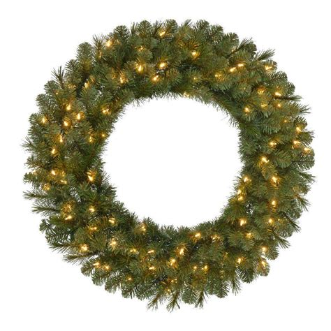 36 In Pre Lit Led Wesley Pine Artificial Christmas Wreath Outdoor Lighted Wreaths