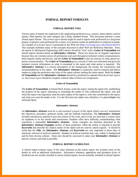Report Abstract Writing by 8 Exle Of A Formal Report Commerce Invoice