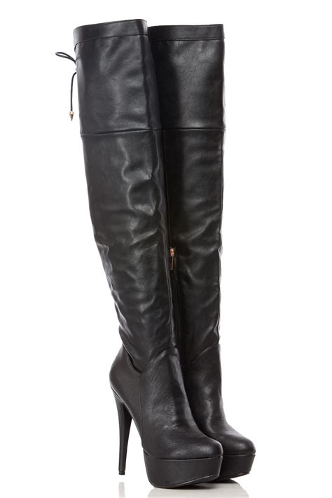 black faux leather tie thigh high platform boots