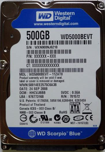 Wdc 2 5 In 500gb Sata 8mb Stock wd scorpio blue wd5000bevt 500gb 5400rpm sata 3 0gbps 3 5 quot hdd