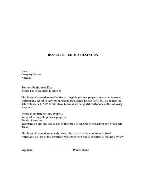 Attestation Letter In Attestation Letter Format Best Template Collection