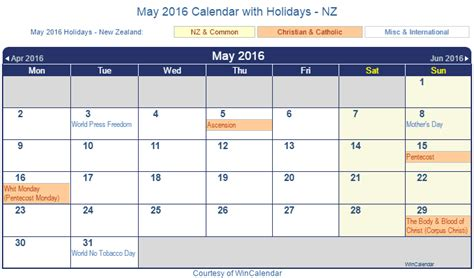 printable calendar new zealand 2016 print friendly may 2016 new zealand calendar for printing