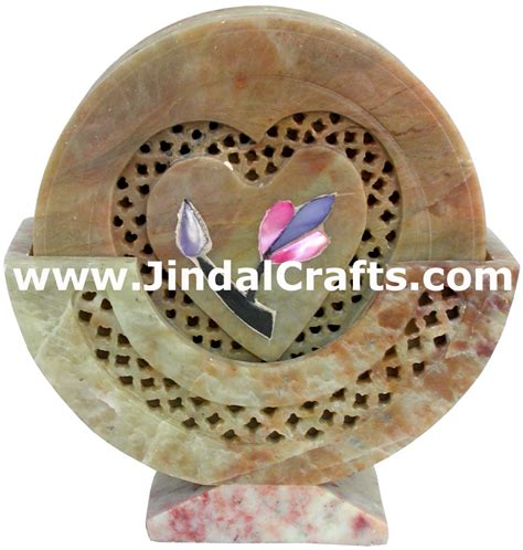 Indian Decorations For Home hand carved stone inlay coaster set rich indian art crafts