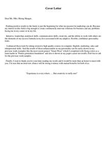 Application Letter Dear Mr My First C V And Cover Letter