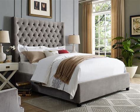 crown mark aster grey queen bed  classy home