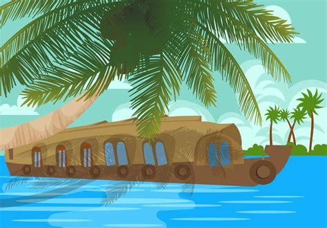 houseboat vector kerala backwaters houseboat vector download free vector